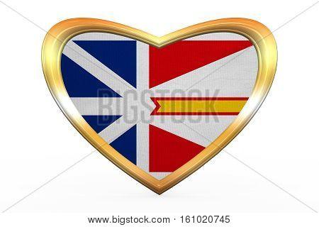 Newfoundland And Labrador Flag, Golden Heart Shape