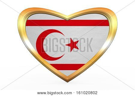 Flag Of Northern Cyprus, Heart Shape, Golden Frame