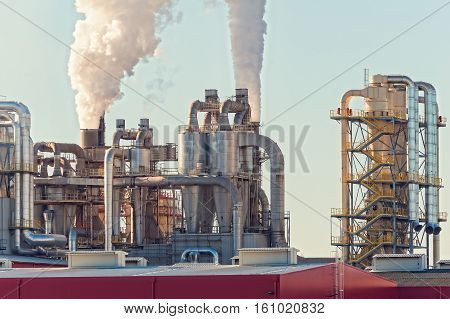 Chimney And Storage Tank. Chemical Plant.factory