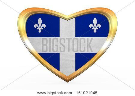 Flag Of Quebec In Heart Shape, Golden Frame