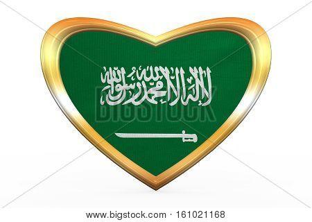 Saudi Arabia Flag In Heart Shape, Golden Frame