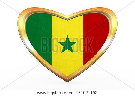 Flag Of Senegal In Heart Shape, Golden Frame