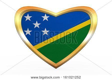Flag Of Solomon Islands, Heart Shape, Golden Frame