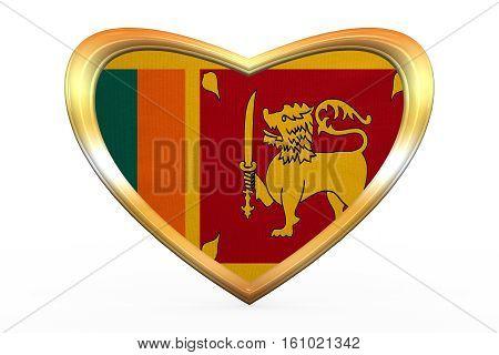 Flag Of Sri Lanka In Heart Shape, Golden Frame