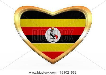 Flag Of Uganda In Heart Shape, Golden Frame