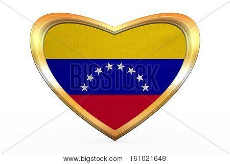Flag Of Venezuela In Heart Shape, Golden Frame