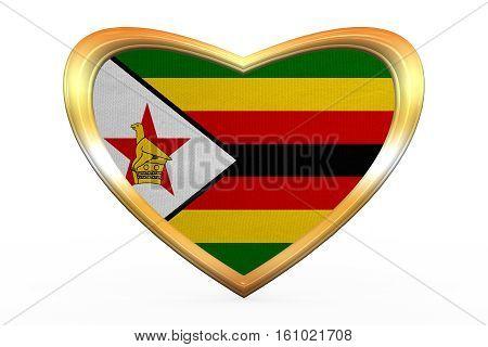 Flag Of Zimbabwe In Heart Shape, Golden Frame