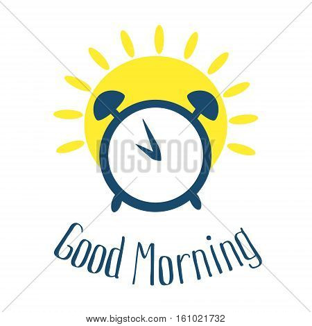 Good morning card with alarm clock and sun. Vector illustration. Flat style.