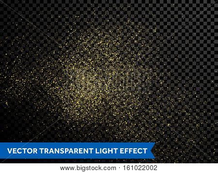 Shining glow particles and golden star dust. Festive gold falling confetti glitter. Shimmering magic glow firework for new year, christmas or birthday. Sparkling glittering light texture
