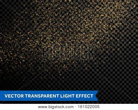 Gold glitter particles Vector golden dust texture of twinkling confetti, shimmering star lights. Magic glowing light sparkles spray for Christmas decor on transparent background
