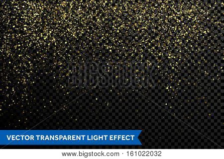 Vector gold glitter particles background effect for luxury greeting card. Sparkling texture. Star dust sparks magic explosion light on transparent background. Shimmering glow glittering effect