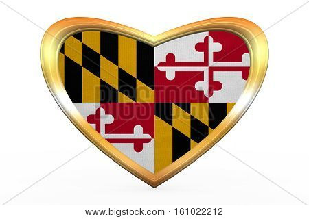 Flag Of Maryland In Heart Shape, Golden Frame