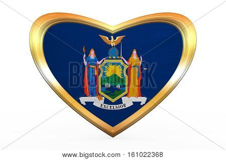 Flag Of New York State, Heart Shape, Golden Frame