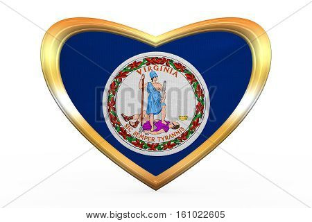 Flag Of Virginia In Heart Shape, Golden Frame