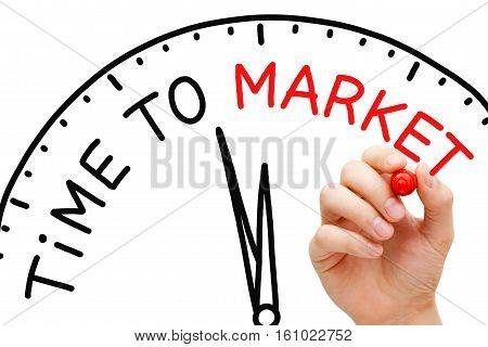 Hand writing Time to Market clock concept with red marker on transparent wipe board.