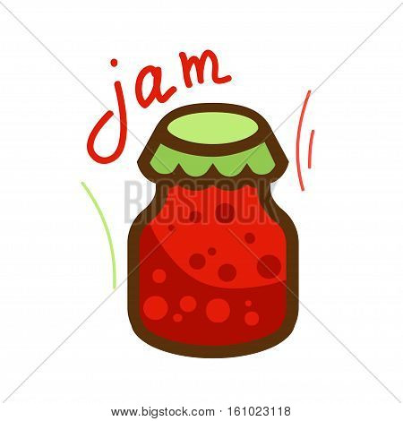 The jar of jam and red berry strawberry isolated on white background. Vector illustration.