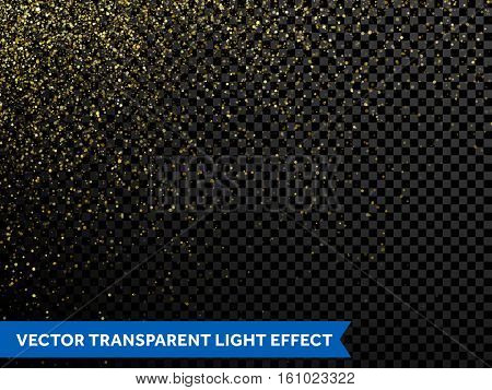Vector golden glitter wave abstract illustration. Gold star dust trail sparkling particles light isolated on transparent background. Magic shimmering texture for christmas, new year, wedding, birthday poster