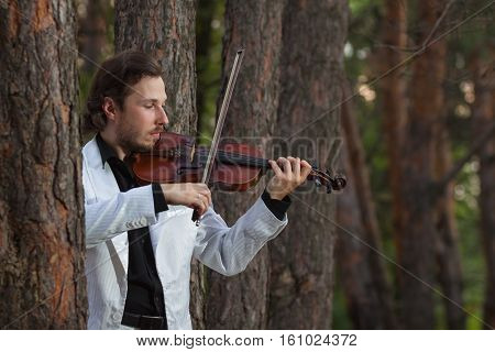 Professional violinist playing the violin ciose up