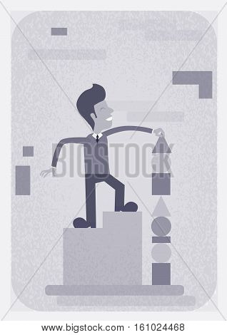 Successful Busines Man Build Pyramide Strategy Concept Vector Illustration