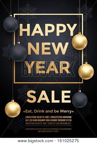 New Year Sale poster with gold text, ball ornament decorations, Christmas gold glitter snowflakes pattern. Premium luxury background with. Xmas retail offer banner frame