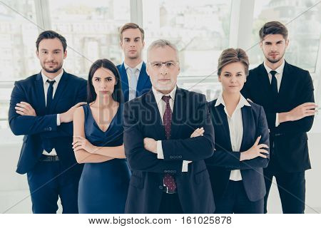 Group Of Six Confident Serious Business People Standing Together
