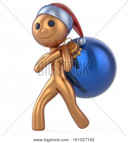 Santa Claus hat New Year's Eve smile man happy character carries bag Christmas ball decoration adornment ornament gold blue bauble. Traditional Xmas wintertime holiday invite concept. 3d illustration