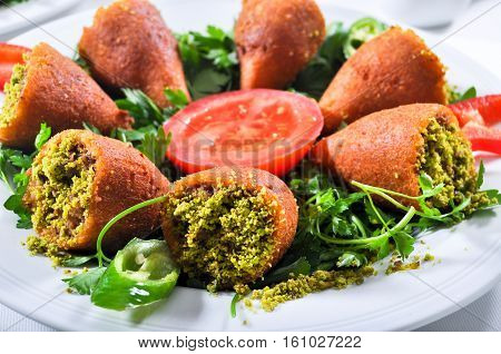 Icli kofte stuffed meatballs, one of the most important dishes of Turkish cuisine