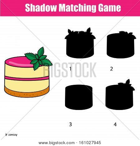 Shadow matching game for children. Find the right, correct shadow for kids preschool and school age
