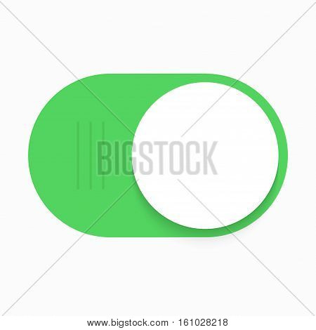 Vector modern green slider button on white background