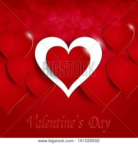 Red heart on a celebratory background. Postcard in honor of Valentine s Day with. Greeting inscription. Vector illustration