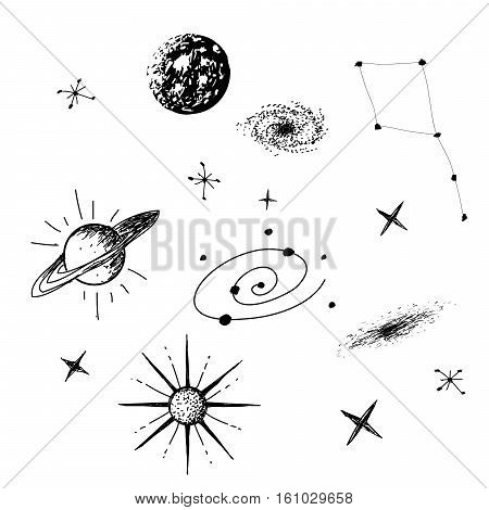 Vector illustration of universe with galaxy, planets, stars, constellation on white background. Hand drawn style .Set of galactic objects