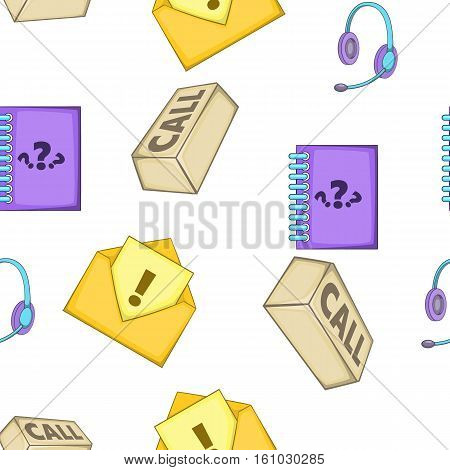 Call center pattern. Cartoon illustration of call center vector pattern for web design