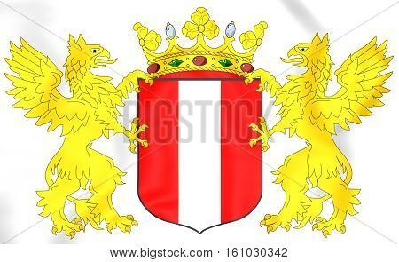 Dordrecht Coat Of Arms, Netherlands. 3D Illustration.