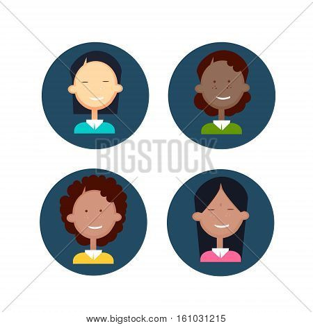 Ethnic Business People Group Icon Set Mix Race Woman Businesspeople Team Flat Vector Illustration