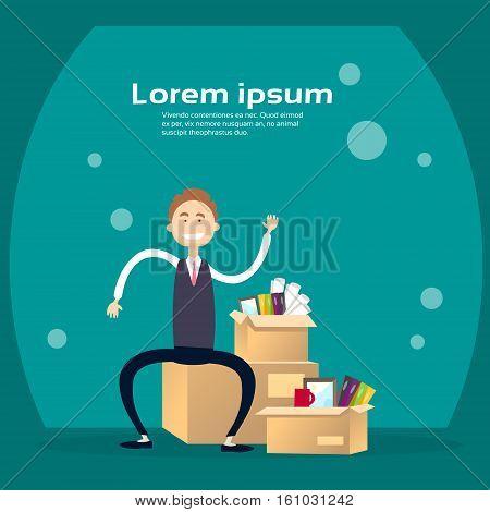 Business Man Box With Office Stuff Recruitment New Job Position Vacancy Flat Vector Illustration