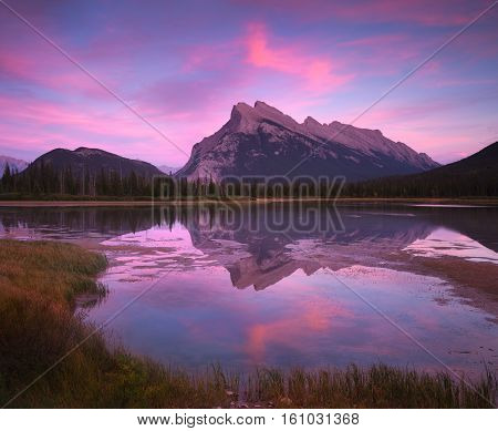 Vermillion lakes is the most accessible lake in Banff, Alberta, Canada.