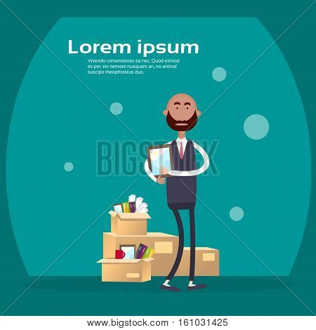 Indian Business Man Hold Box With Office Stuff Recruitment New Job Position Vacancy Flat Vector Illustration