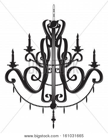 Rich Baroque Classic chandelier. Luxury decor accessory design. Vector illustration sketch