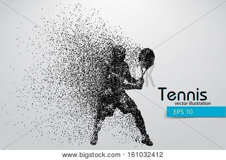 Silhouette of a tennis player from particles. Text and background on a separate layer, color can be changed in one click. Tennis player