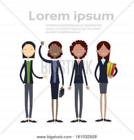 Ethnic Business Woman Group Full Length Mix Race Businesswoman Team Flat Vector Illustration