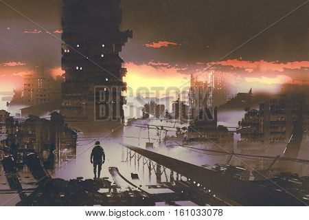 man standing in abandoned citysci-fi concept, illustration painting