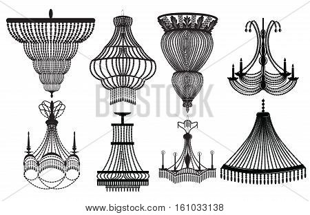 Classic Crystal Chandeliers Set Collection. Luxury decor accessory design. Vector illustration sketch