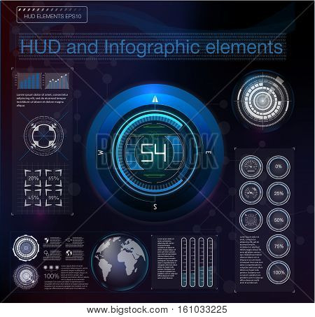 Abstract background with different elements of the hud. Hud elementsgraph.Vector illustration.Head-up display elements for Infographic elements. Black and white.