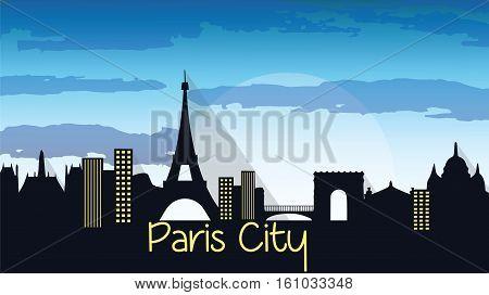 Paris City Silhouette with Eiffel tower Vector. Skyline