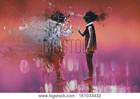man with virtual reality headset touching particles of himself, illustration painting