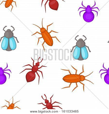 Bugs pattern. Cartoon illustration of insects vector pattern for web design