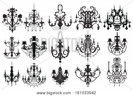 Classic chandelier Set Collection. Luxury decor accessory design. Vector illustration sketch
