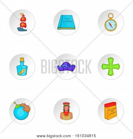 Pioneer icons set. Cartoon illustration of 9 pioneer vector icons for web