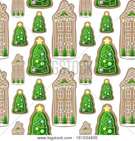 Gingerbread house and Christmas fir tree vector seamless pattern. Christmas pattern swatch for wrapping paper or wallpapers. Gingerbread cookies regular ornament. Fir tree pattern. Ginger bread decor