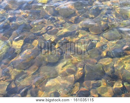 A rocky lake bottom in shallow water.